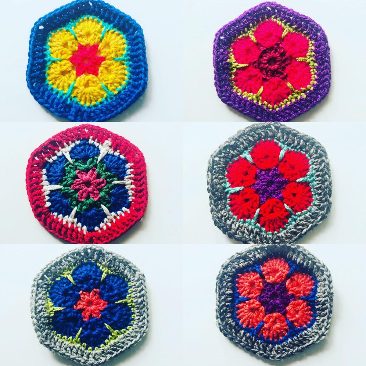 Block de flor africana al crochet - Espacio Claudelina